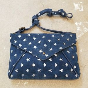 Free People Blue Suede Leather Star Crossbody Bag